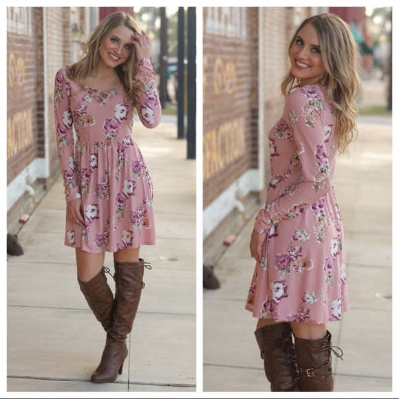 Infinity Raine Dresses & Skirts - Pink floral long sleeve dress with cross detailing